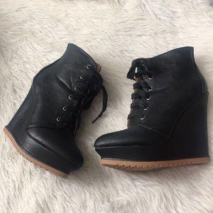 "ShoeDazzle ""Calandra"" Black Lace Up Wedge Booties"